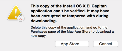 This copy of the Install OS X El Capitan application can't be verified. It may have been corrupted or tampered with during downloading.