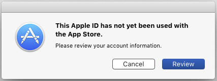 This Apple ID has not yet been used with the App Store